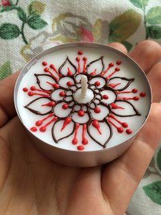 Mandala Flower BIG henna tealight candles - Mehndi Tealights - Baby Favors - Wedding Favors - Party Favors - Henna Favors - Mehndi Favors