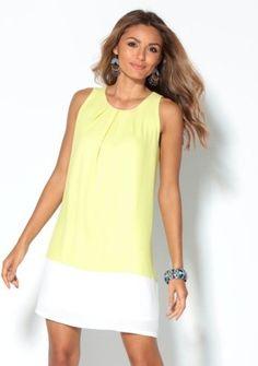 Dvojfarebné šaty bez rukávov #ModinoSK #yellow #pastel