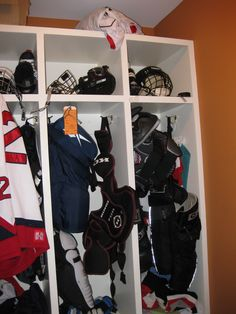 I am doing this eventually for winter gear in a mud room I think...unless hockey becomes more prominant
