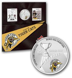 2012 Coin and Stamp set Hamilton, Cat Memorial, Stamp, Sports Teams, Toronto, Canada, Lovers, Football, Retro