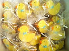 Baby shower duck cookies all lined up and ready to be shipped! Duck Cookies, Baby Shower Duck, Rubber Duck, Custom Cakes, Cookie Decorating, Eat Cake, Projects To Try, Merry, Cookies