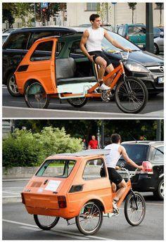 upcycle a tiny car body into a bike trailer Tricycle, E Quad, Pimp Your Bike, Velo Retro, Velo Design, Velo Cargo, Fiat 126, Bike Trailer, Pedal Cars