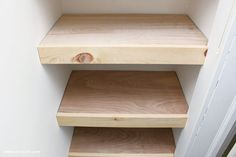 A DIY tutorial for making easy and pretty plywood shelves for your linen closet. Make your closet organized, functional and user friendly with shelves. Floating Shelves Diy, Floating Nightstand, Plywood Shelves, Build Shelves, Closet Shelves, Reno, Do It Yourself Home, Diy Door, Closet Organization