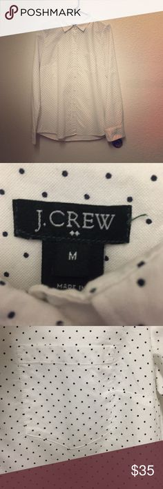 J crew dot button down shirt In great condition J. Crew Tops Button Down Shirts