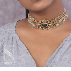A traditional Indian choker made in a central flower motif with Rubies, Emeralds and Polkis with Pearl bead strings on the side. Pearl Necklace Designs, Pearl Choker Necklace, Diy Choker, Gold Choker, Star Necklace, Indian Jewelry Earrings, Pendant Jewelry, India Jewelry, Dress Jewellery