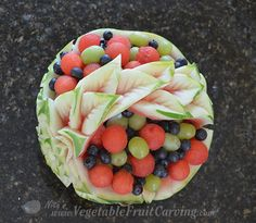 watermleon basket filled with fruit Home And Family Tv, Watermelon Basket, Hallmark Homes, Fruit And Vegetable Carving, Watermelon Carving, Fruit Art, Center Pieces, Food Design, Fruits And Vegetables