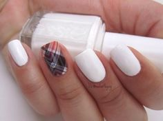 Poised Plaid Jamberry Nails wrap paired with Blanc by Essie.