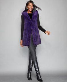 The Fur Vault Knitted Mink Fur Hooded Vest Hooded Vest, Mink Fur, Hoods, Fur Coat, Purple, Stylish, Fur Vests, Jackets, Outfits