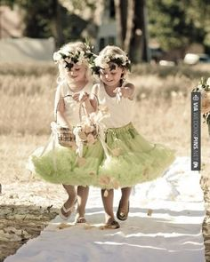 Amazing - Whimsical tutus, fresh flower wreaths, and baskets of flower petals create quite an entrance!
