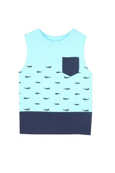 Boys fashion tank in a Muscle fit. Rib neck, turn back armhole and chest pocket.