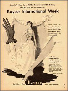 Ad from 1940 celebrating seventy years of Kayser Gloves. #vintage #1940s #gloves #ads
