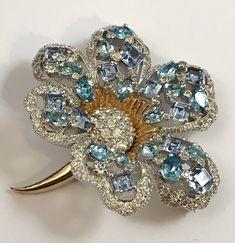 VINTAGE GORGEOUS ART DECO RHINESTONE JOMAZ / MAZER GLASS FLOWER BROOCH PIN | eBay
