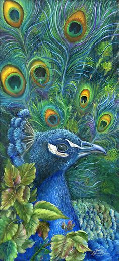 Enticing Peacock Painting   Convert to cross stitch.