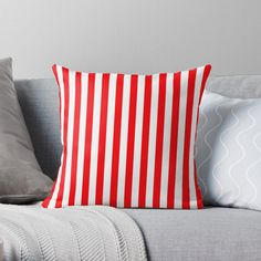 """""""Large Christmas Red and White Cabana Tent Stripe"""" Throw Pillow by podartist 
