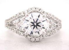 Round cut diamond engagement ring art deco 161ctw by KNRINC, $4,310.00