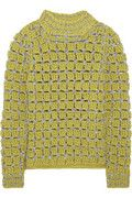 Marc Jacob  Hand-crocheted  Green heavyweight crocheted wool-blend  Silver weave  Slips on  80% wool, 14% polyester, 6% rayon  Dry clean