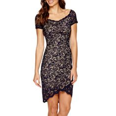 Bisou Bisou® Cap-Sleeve Lace Bodycon Dress  found at @JCPenney