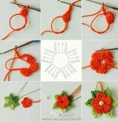 "5 petals cluster flower free pattern with picture tutorial and chart – Artofit Big crochet poppy free pattern step by step – Artofit The difference is in the details easy crochet flowers bows – Artofit maria-cro: "" pattern for the cute flowers :) Crochet Flower Tutorial, Crochet Diy, Crochet Flower Patterns, Crochet Stitches Patterns, Crochet Motif, Crochet Crafts, Crochet Flowers, Crochet Projects, Diy Crafts"