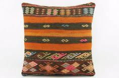 Orange striped  embroidered pillow cover Art deco by GalenUnique, $24.00