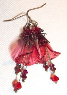 Earrings Red Ruffled Lucite Transparent Flower Antique Brass Swarovski Austrian Crystal   FREE SHIPPING. $7.95, via Etsy.