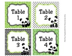 """These sweet table numbers are great for decorating your classroom in a panda theme. Print and laminate for sturdiness. The table number tags measure 4 x 4 inches. The file includes table numbers 1-8 and a page of blank tags. Blank tags are not editable.Tags can be printed on 8 1/2"""" x 11"""" white heavy cardstock or full sheet label paper."""