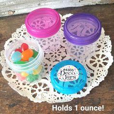 24 Containers pink blue purple caps 1 ounce 30ml Plastic Favor Jars 4305 New USA #Decojars