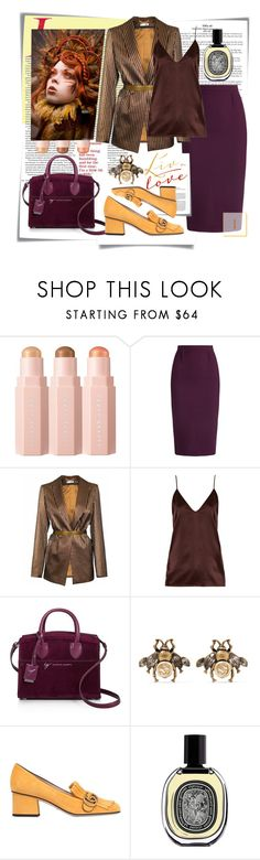 """""""бордовая юбка"""" by fashionstar40 ❤ liked on Polyvore featuring Post-It, Sephora Collection, Roland Mouret, JIRI KALFAR, Raey, Giuseppe Zanotti, Gucci and Diptyque"""
