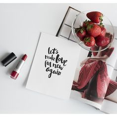 Lettering. Typography. Print design. Graphic design. Flatlay. Postcard. Red lipstick. Strawberries