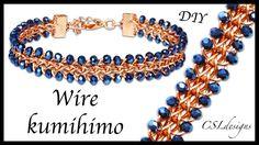 Beaded half round wire kumihimo bracelet