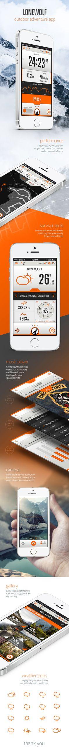 Lonewolf by Stephen Busuttil, via Behance - Dude the compass. Mobile Application Design, Mobile Web Design, Web Ui Design, Wireframe, Apps, App Design Inspiration, Design Ideas, User Interface Design, Sport Outdoor