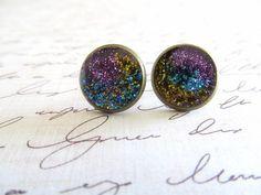 Purple Galaxy Stud Earrings from luulla.com