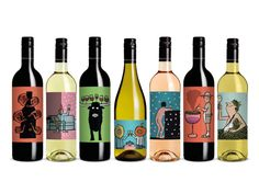 Jean Jullien a créé les étiquettes - purement illustratives - des sept bouteilles de Majestic Love, la gamme printanière de Majestic, négociant anglais....