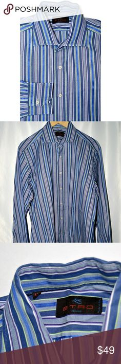 ETRO MILANO MEN'S DRESS SHIRT BLUE striped ETRO MILANO MEN'S DRESS SHIRT BLUE  striped  size 42cm Etro Shirts Dress Shirts