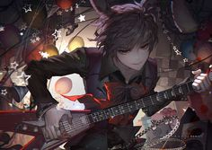 Image d'anime 1024x726 avec  five nights at freddy's bonnie (five nights at freddy's) kawacy single short hair red eyes smile fringe animal ears holding grey hair bunny ears leaning leaning forward indoors playing male bow shirt bracelet