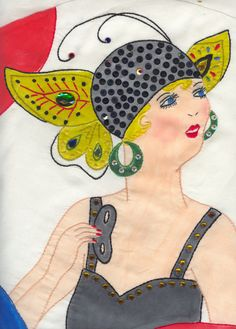 mardi gras lady tinted Tsukineko Ink, embroidered with jewels attached
