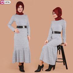 ** YENİ ÜRÜN ** Fırfırlı Tesettür Elbise Gri Ürün Kodu: AKT06 --> 54.90 TL