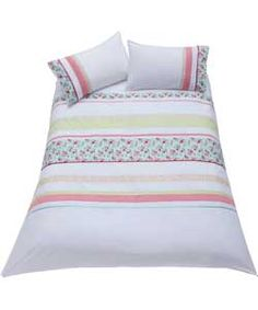 Inspire Vintage Embroidered White Duvet Cover Set - Double.