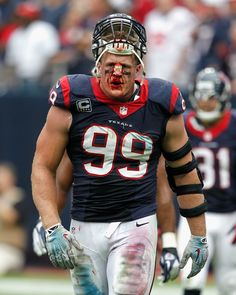 JJ Watt in last weeks game. He had to get his nose stitched up. I was thinking this would be a scary Halloween costume for a kid x