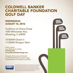 Register for the Coldwell Banker Charitable Foundation #Golf Day In The Prairie State! Get All The Details Here and Support #GenBlue In A Great Casue!  #GiveHousing #GenBlueCares #CharityGolf