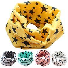 Stars Children's Cotton Neckerchief Kids Boy Girl Scarves Shawl Unisex Winter Knitting  8IUS