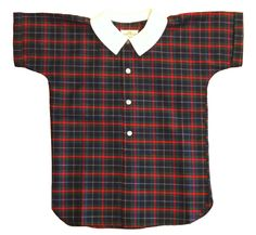 Plaid Blouse With Contrast Collar (1960s)