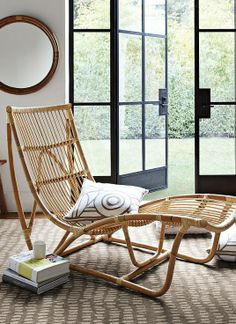 Rattan lounge chaise