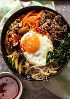 Overhead photo of Bibimbap, Korean Rice Bowl, ready to be eaten Simple Food Recipes, Food Recipes Homemade Asian Recipes, Beef Recipes, Cooking Recipes, Healthy Recipes, Easy Japanese Recipes, Asian Foods, Kitchen Recipes, Rice Recipes, Korean Rice