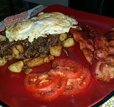 Shredded beef, potatoes and eggs. #FamousRedPlate