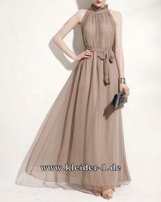 A Linie Chiffon Sommerkleid in Beige Elegant