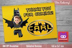 Batman LEGO Thank you card with Custom Face! Lego Batman Party, Lego Batman Birthday, Lego Batman, Lego Batman Birthday Invitation by BirthdayShopCraftsCo on Etsy https://www.etsy.com/listing/542576363/batman-lego-thank-you-card-with-custom