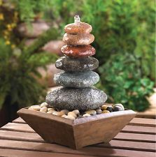WATER FOUNTAINS: Stacked Stones Zen Meditation Table Top Fountain NEW