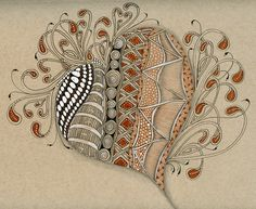 Melinda Barlow CZT and Zentangle Meets Typography: Tangled Heart on Tan and Gray Paper