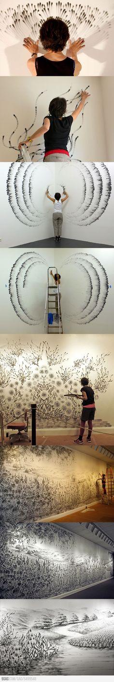 Incroyable dessin aux doigts de Judith Braun. Fascinant !!!