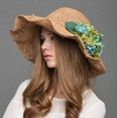 Wide brim straw hat for women with flower UV protection